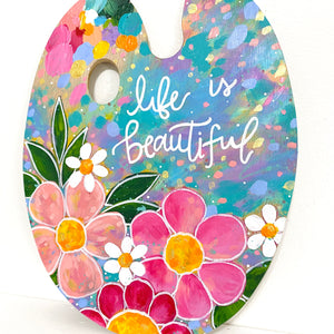 "Paint Palette Original Painting 12 Days of Christmas Day 3 ""Life is Beautiful"""