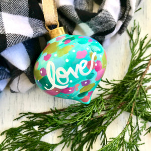 "Hand Painted Ceramic Ornament ""Love"" Blue Multi-Color - Bethany Joy Art"