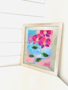 Framed original orchid flower painting by Bethany Joy Art