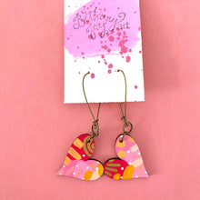 Load image into Gallery viewer, Colorful, Hand Painted, Heart Shaped Earrings 16
