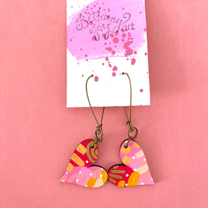 Colorful, Hand Painted, Heart Shaped Earrings 16
