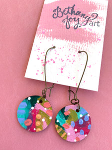 Colorful, Hand Painted Earrings 8 - Bethany Joy Art