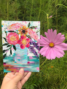 "August Daily Painting Day 24 ""Blue Skies Smiling"" 5x7 inch Floral Original - Bethany Joy Art"
