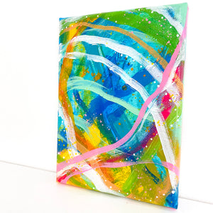 Waves of Color #1 5x7 inch abstract original canvas