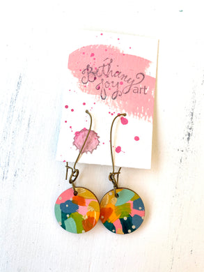Colorful, Hand Painted Earrings 122