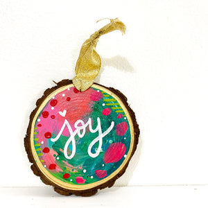 "Hand-painted wooden ornament ""Joy"" #3"