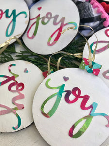 Hand painted wooden Joy ornaments for Christmas
