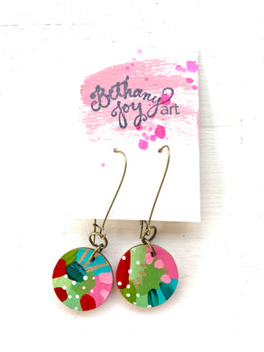 Colorful, Hand Painted Earrings 166