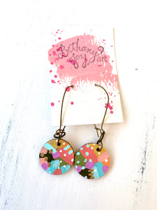 Colorful, Hand Painted Earrings 106
