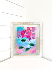 framed original orchid painting by Bethany Joy Art