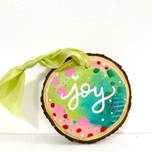 "Hand-painted wooden ornament ""Joy"" #4"