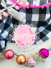 "Load image into Gallery viewer, Hand Painted Clear Acrylic Light Pink Ornament, ""Joy"" - Bethany Joy Art"
