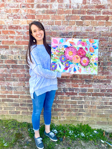 """Bloom Wildly"" Floral Original Painting on 20x24 inch canvas - Bethany Joy Art"