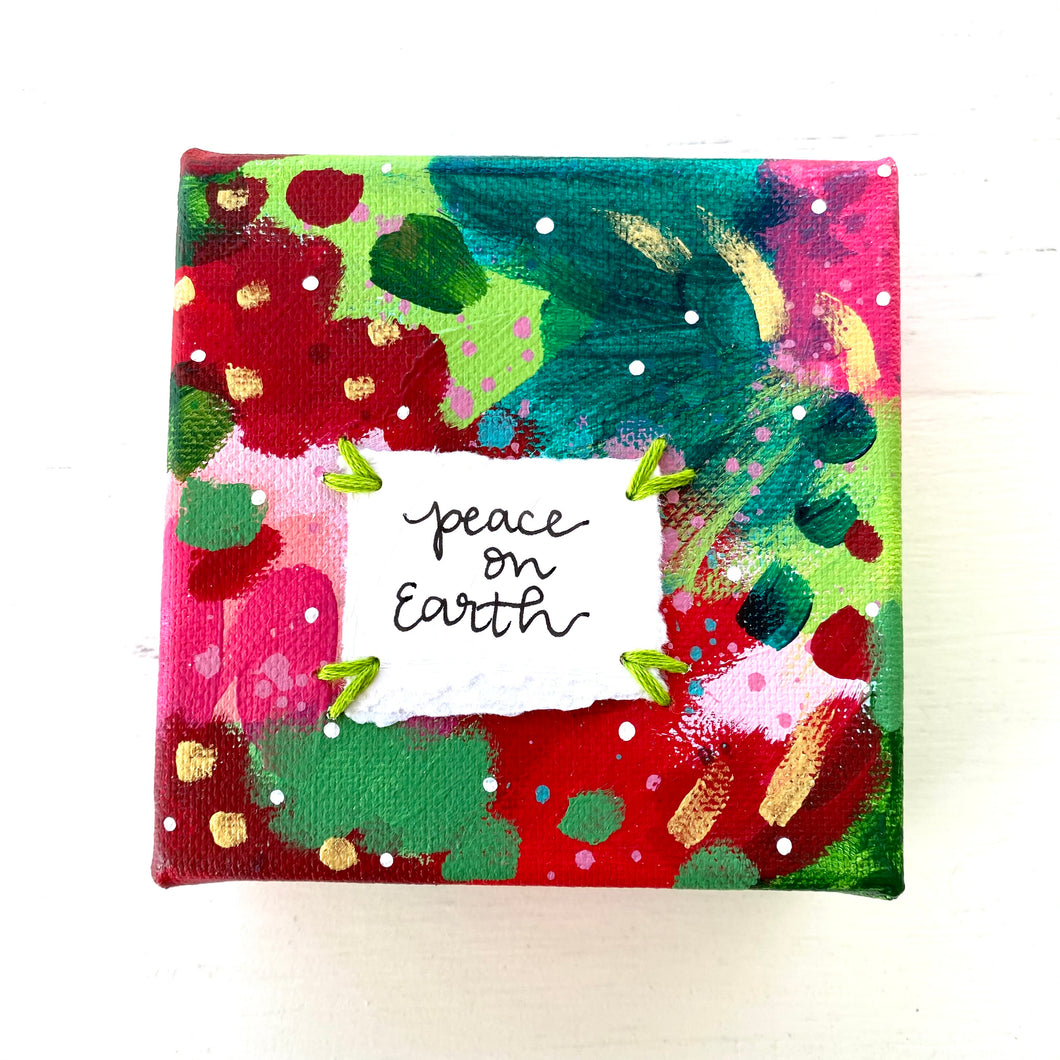 Peace on Earth-1 4x4 inch original abstract canvas with embroidery thread accents