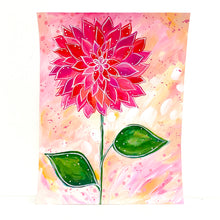 Load image into Gallery viewer, February Flowers Day 5 Dahlia 8.5x11 inch original painting