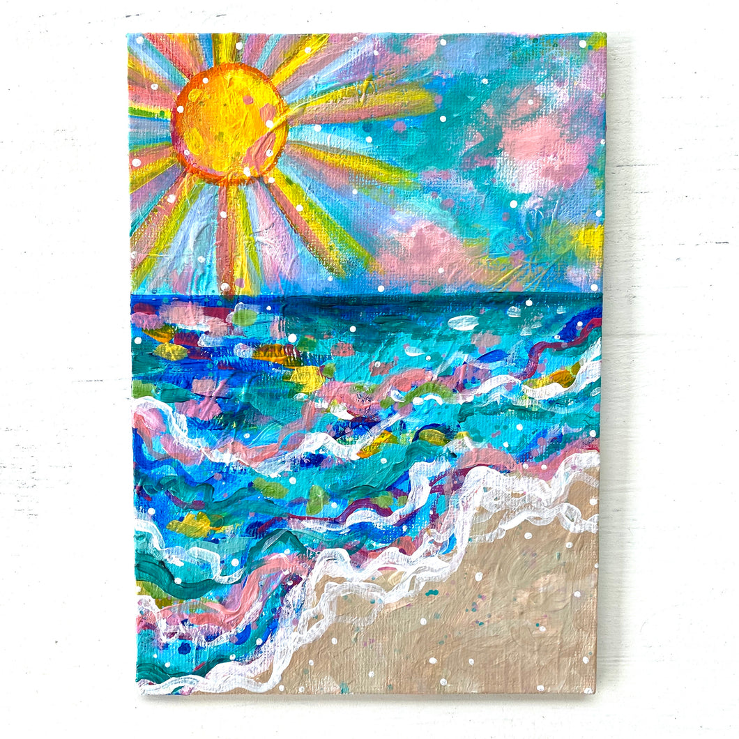"August 2020 Daily Painting Day 20 ""Sun, Sand, the Sea, and Me"" 5x7 inch original"