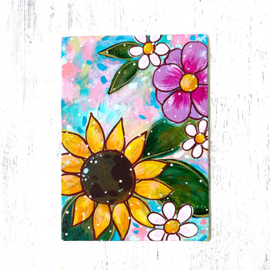 "January Daily Painting Day 27 ""Add a Little Sunshine"" 5x7 inch Floral Original - Bethany Joy Art"
