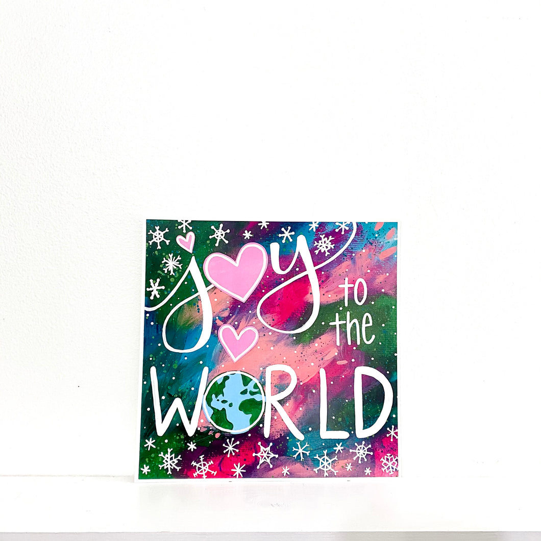 Joy to the World 8x8 inch holiday art print