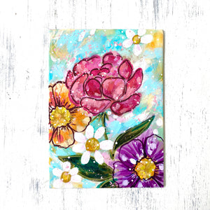 "January Daily Painting Day 2 ""Heart Blooms"" 5x7 inch Floral Original - Bethany Joy Art"