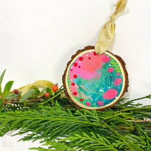 Hand-painted wooden ornament choose your word 26