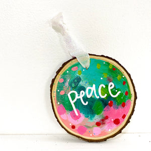 "Hand-painted wooden ornament ""Peace"" #3"