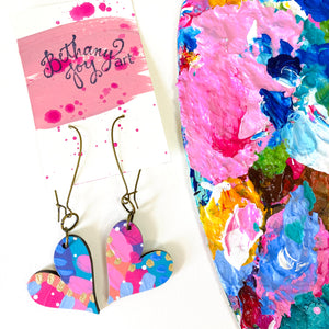 Colorful, Hand Painted, Heart Shaped Earrings 49