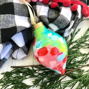 Multi-colored Hand-painted Ceramic Christmas Ornament #4