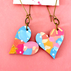 Colorful, Hand Painted, Heart Shaped Earrings 37
