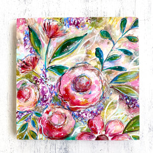 Hope Blooms Spring Floral Mixed Media Painting on 8x8 inch wood panel - Bethany Joy Art