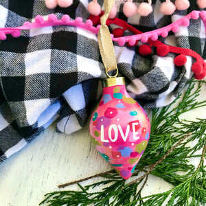 "Hand Painted Ceramic Ornament ""Love"" Pink Multi-Color - Bethany Joy Art"