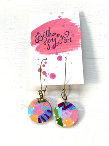 Colorful, Hand Painted Earrings 76