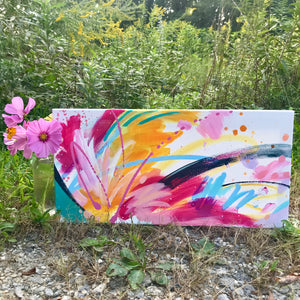 "Abstract Original Painting ""Favorite Kind of Sky"" 10x20 inch Canvas - Bethany Joy Art"