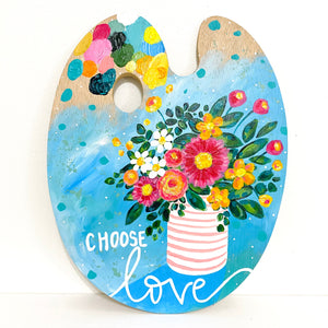 "Paint Palette Original Painting 12 Days of Christmas Day 11 ""Choose Love"""