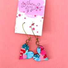 Load image into Gallery viewer, Colorful, Hand Painted, Heart Shaped Earrings 34