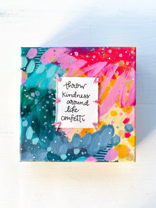 Confetti Kindness 6x6 inch original abstract canvas with embroidery thread accents