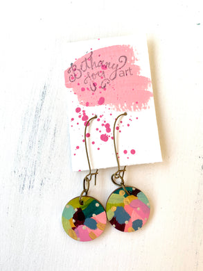 Colorful, Hand Painted Earrings 132