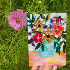 "August Daily Painting Day 23 ""Bouquet of Sunshine"" 5x7 inch Floral Original - Bethany Joy Art"