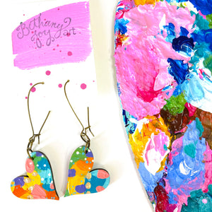 Colorful, Hand Painted, Heart Shaped Earrings 64