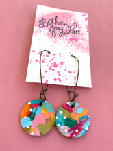 Load image into Gallery viewer, Colorful, Hand Painted Earrings 3 - Bethany Joy Art