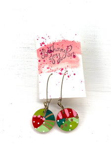 Colorful, Hand Painted Earrings 176