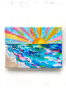 """Sunrise on the Beach"" 5x7 inch Original Coastal Inspired Painting on Canvas with painted sides"