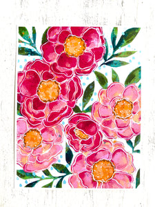 Peony Love 8.5x11 inch art print - Bethany Joy Art