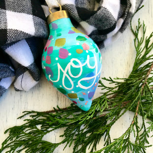 "Hand Painted Ceramic Ornament ""Joy 2"" Blue Multi-Color - Bethany Joy Art"