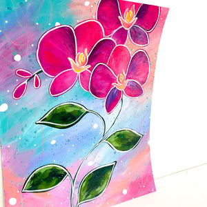 February Flowers Day 19 Orchid 8.5x11 inch original painting