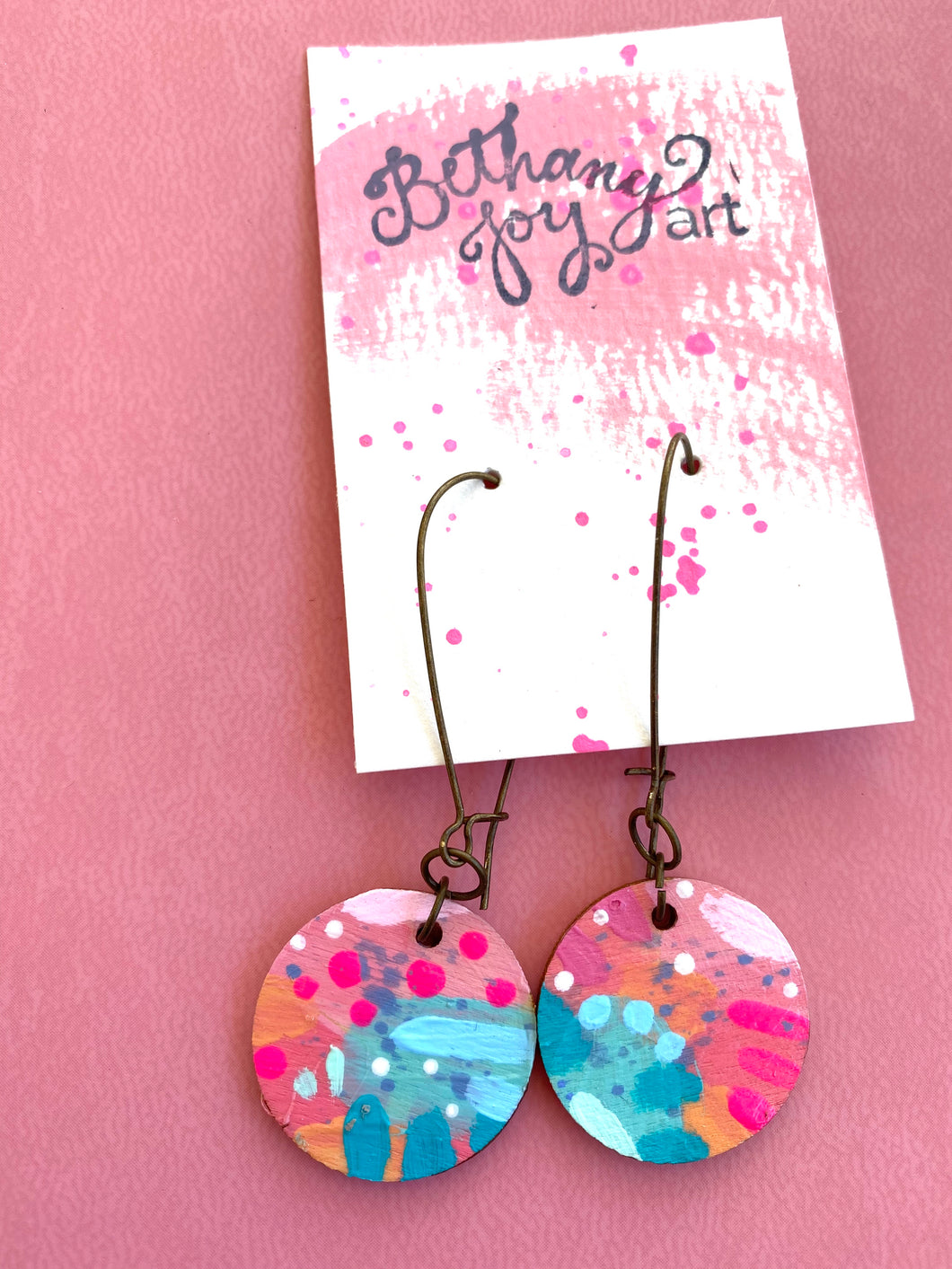 Colorful, Hand Painted Earrings 13 - Bethany Joy Art