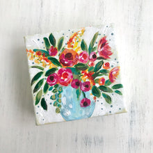 "Load image into Gallery viewer, ""Full Bloom"" 4x4 inch floral canvas with 1.25 inch painted sides (light green stripes) - Bethany Joy Art"