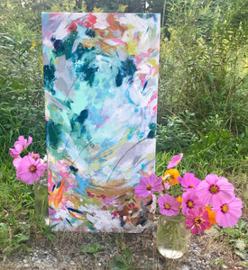 "Abstract Original Painting ""By the Seashore"" 12x24 inch Canvas - Bethany Joy Art"