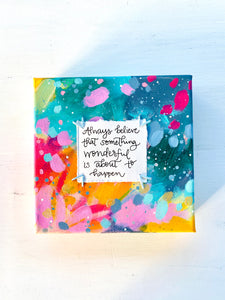 Something Wonderful 6x6 inch original abstract canvas with embroidery thread accents