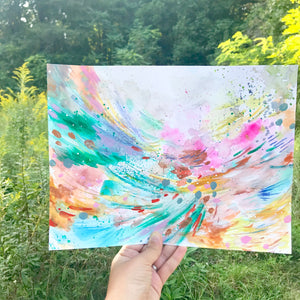 "Abstract Original Painting ""Waves of Joy"" 9x12 inch Watercolor Paper - Bethany Joy Art"