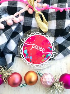"Hand Painted Clear Acrylic Hot Pink Ornament, ""Peace"" 2 - Bethany Joy Art"